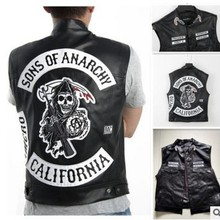 4 стиля, вышивка сынов анарчи, кожа, рок, панк-жилет, карнавальный костюм, черный цвет, мотоциклетная куртка без рукавов