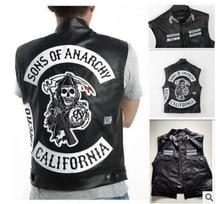 4 스타일 무정부 자수의 아들 가죽 락 펑크 조끼 코스프레 의상 블랙 컬러 오토바이 민소매 자켓