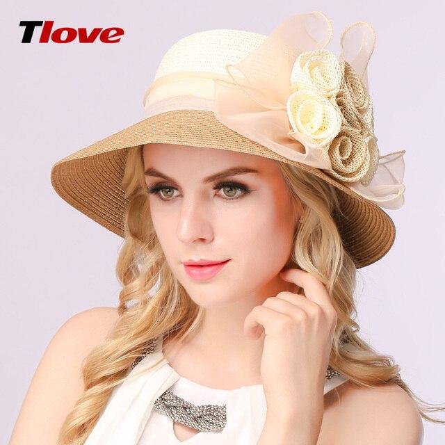2016 nueva primavera y el verano bloqueador solar strawhat mujeres de gran sombrero de ala playa sol shading de la flor del organza del sombrero del sol para mujer B-3152