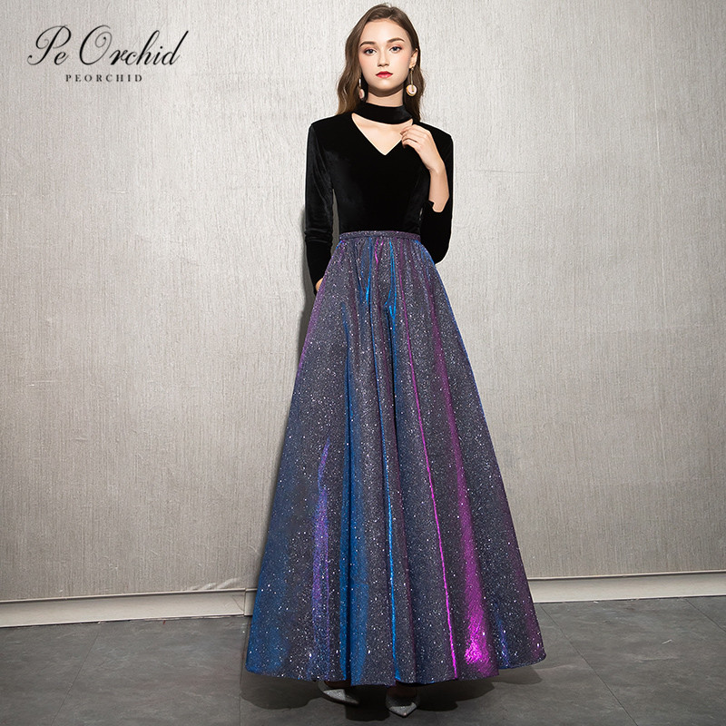 PEORCHID 2019 Glitter Long Sleeve   Prom     Dresses   Black Velvet Vestido De Graduacion Floor Length Girls Evening Party   Dress