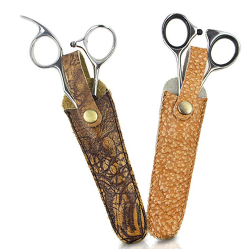 professional hot Cowhide hair scissors sheath leather case barber packet scissor cover shears Holster hairdressing scissors bag