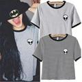 2016 Del Verano Del Diseñador de Moda Marca Mujeres Camiseta Para Mujer Divertida ET extraterrestre Impreso O-cuello de Manga Corta Harajuku Camiseta Sexy Tops