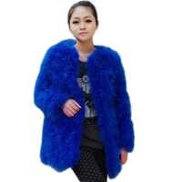 Livraison gratuite nouveauté manteau de fourrure d'autruche pour femme Long manteau de fourrure de laine hiver veste de fourrure d'autruche