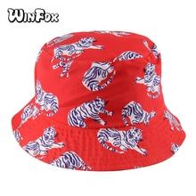 Winfox 2018 New Fashion Summer Reversible Orange Tiger Bucket Hats  Gorro Pescador Fisherman Caps For Women Ladies Girls