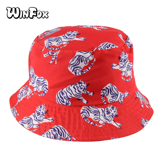 dbb27afbcfc Winfox 2018 New Fashion Summer Reversible Orange Tiger Bucket Hats Gorro  Pescador Fisherman Caps For Women