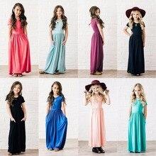 8 цветов летние платья для маленьких девочек модная детская одежда Платья для девочек, одежда хлопковое пляжное 2018 для девочек вечерние Принцесса Макси платье