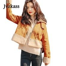 Jvzkass 2018 new Fur one-piece jacket fresh thickening deerskin lambs wool retro motorcycle short female Z63