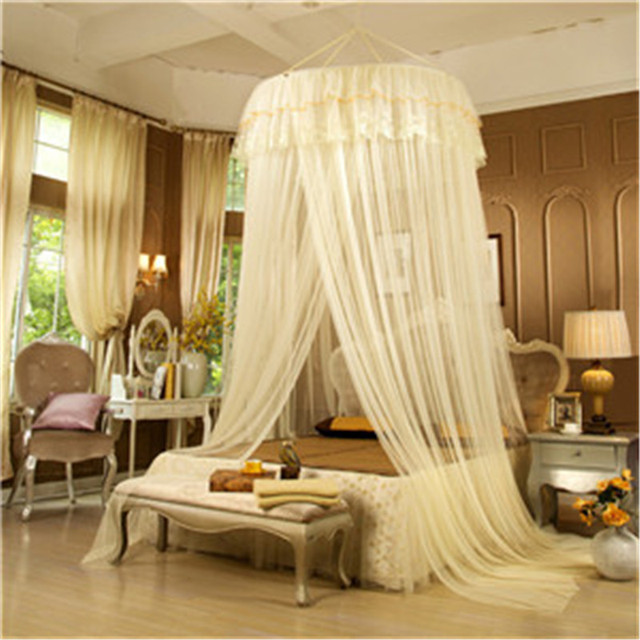 2017 New Fashion Romantic Hung Dome Mosquito Net With Ring And Hook  Princess Insect Bed Round