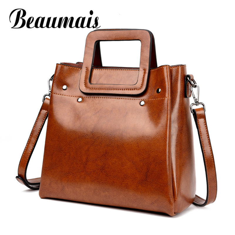 Beaumais Genuine Leather Bags Women Real Leather Shoulder Bag Large Capacity Female Messenger Bag Cow Leahter Crossbody DF0132
