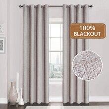 리넨 100% 블랙 아웃 커튼 부엌 침실 창 치료 솔리드 방수 커튼 거실 맞춤 제작
