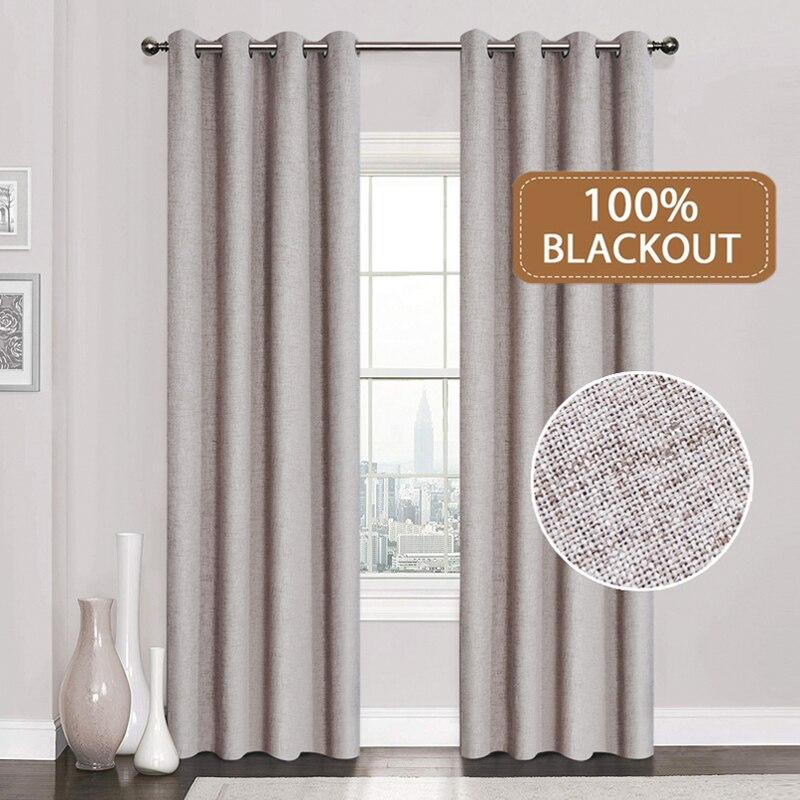 Leinen 100% Blackout Vorhänge Für Küche Schlafzimmer Fenster Behandlung Solide Wasser Beweis Vorhänge für Wohnzimmer Nach Maß
