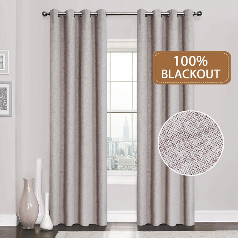100%Blackout Curtains Linen Window-Treatment Bedroom Living-Room Kitchen Custom-Made title=