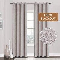 Cortinas opacas de lino 100%, telas a medida para cocina, dormitorio, ventanas, sala de estar, con tratamiento sólido a prueba de agua