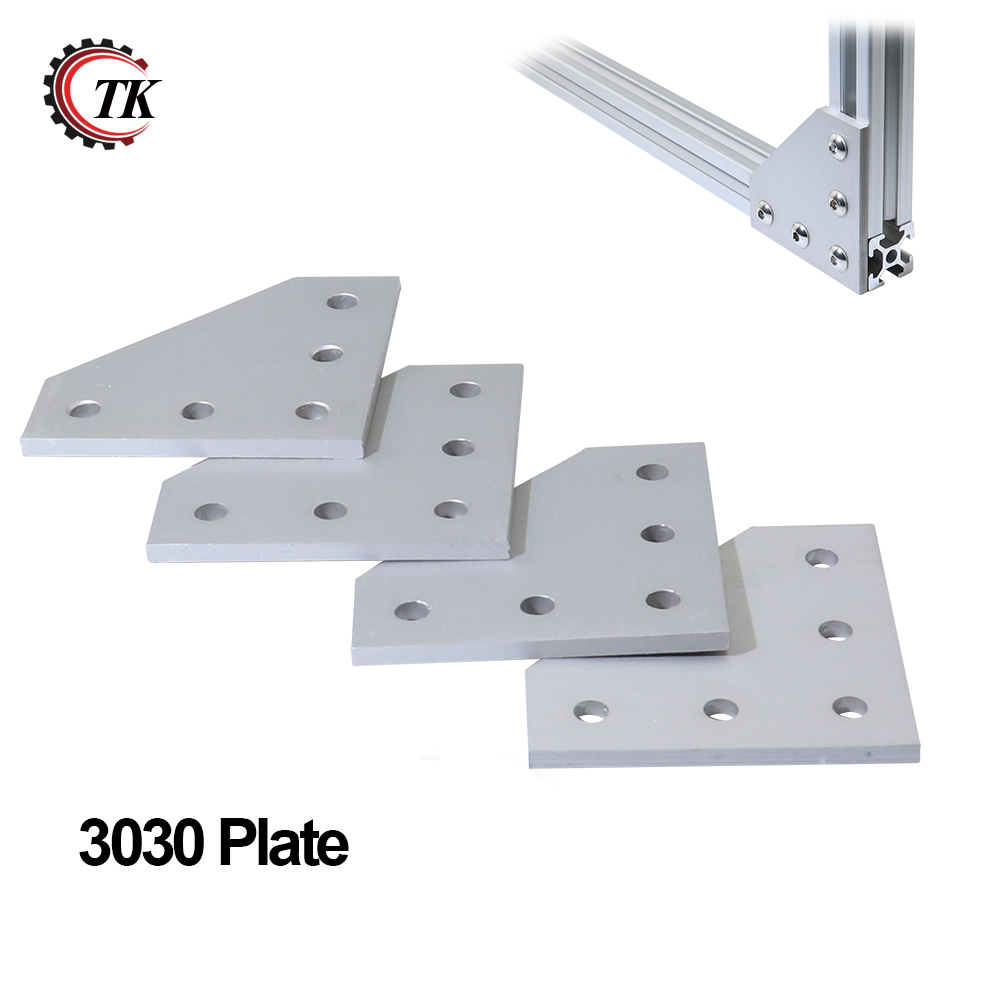 5 Hole 90 Degree Joint Board Plate Corner Angle Bracket Connection Joint Strip for Aluminum Profile 3030 30x30 with 5 holes 2 hole transition inside corner bracket for 3030 aluminum profile
