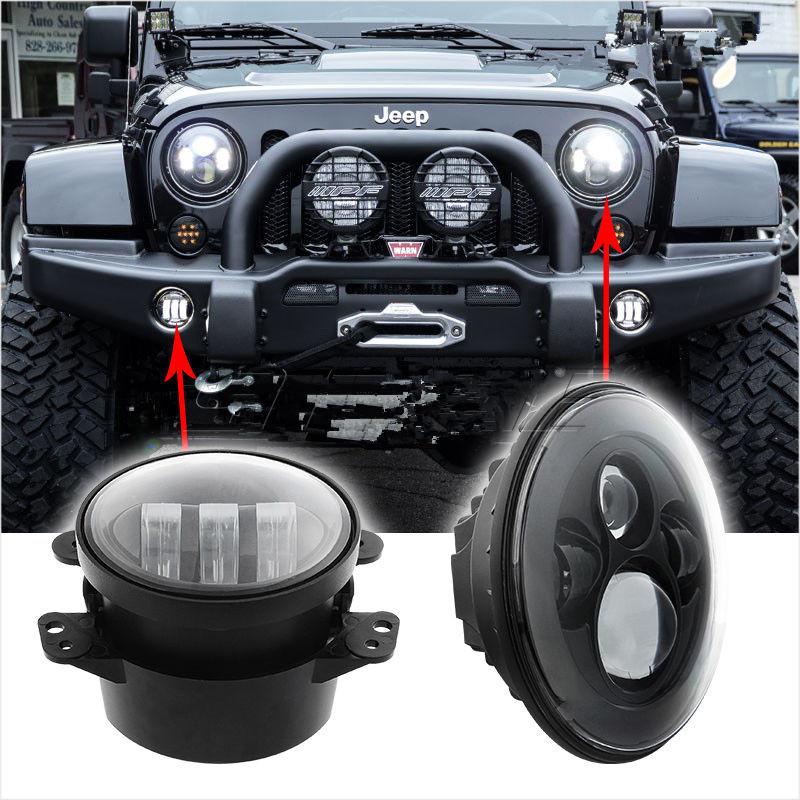 for jeep wrangler headlights 4 led fog light 2x h4 7inch round. Cars Review. Best American Auto & Cars Review