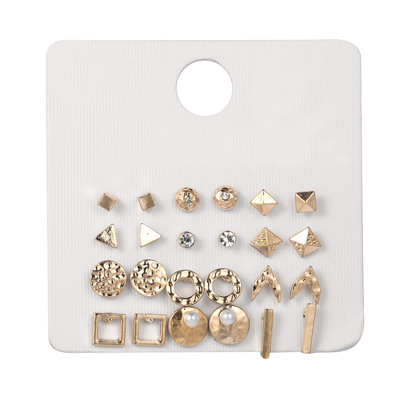 Fashion 12pair set Women Square Round Triangle Bar Crystal Stud Earrings Sets for Women Simulated Pearl Mixed Stud Earring Set in Stud Earrings from Jewelry Accessories