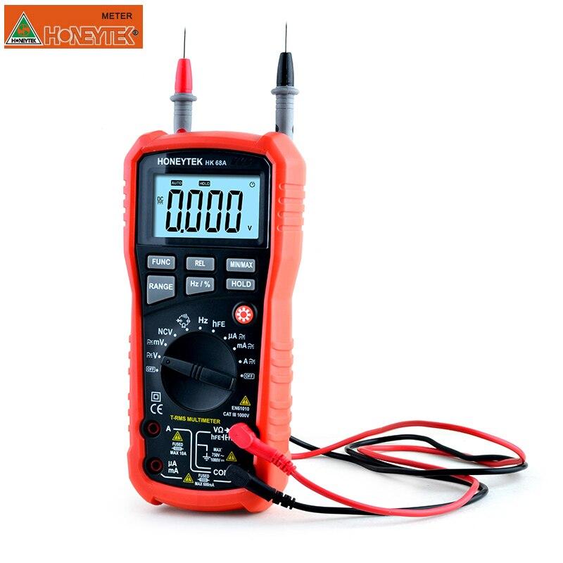 HONEYTEK Цифровой мультиметр защита от перегрузки установка для измерения параметров конденсаторов ESR вольтметр цифровой амперметр REL Транзистор тестер данных