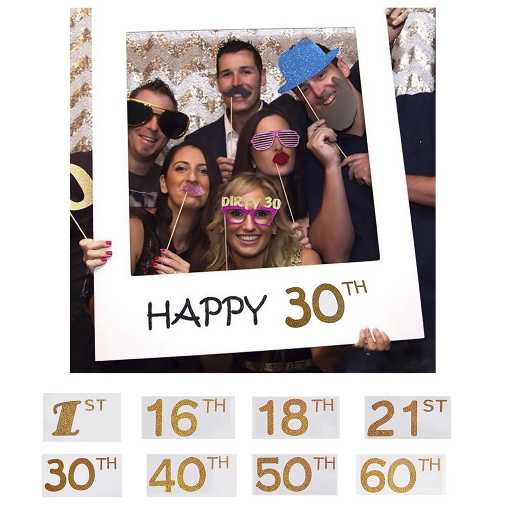 Chicinlife Happy 18/<font><b>30</b></font>/<font><b>40</b></font>/50th Paper Photo Booth Props Photo <font><b>Frame</b></font> Anniversary <font><b>30</b></font> years Birthday Decorations Party Gift Supplies image