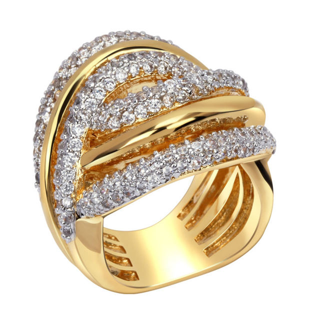 DC1989 Woven Design 2 Tones Gold Rhodium Plated Luxury Women Wedding Rings Synthetic Cubic Zirconia Environmental Friendly Ring