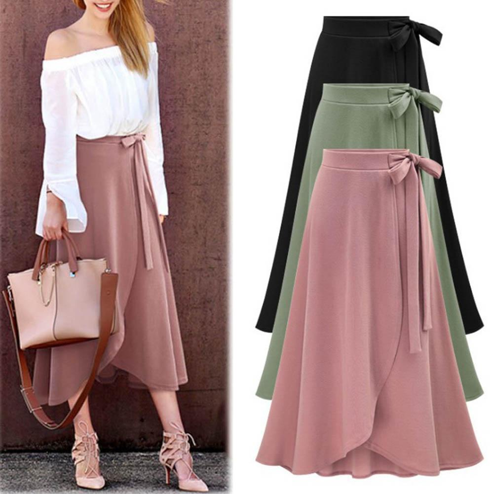 Asymmetry Split Long Skirt Summer  Skirts Womens 2020 Midi Knee Length Korean Elegant Button High Waist Skirt Female