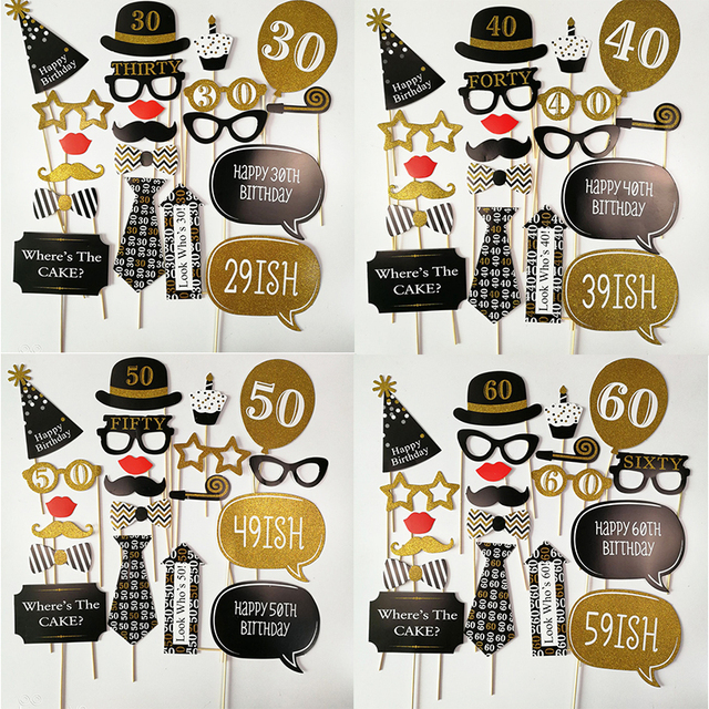 Photo Booth Prop Happy Birthday 30th 40th 50th 60th Decorations Funny Mask Photobooth Anniversaire 30