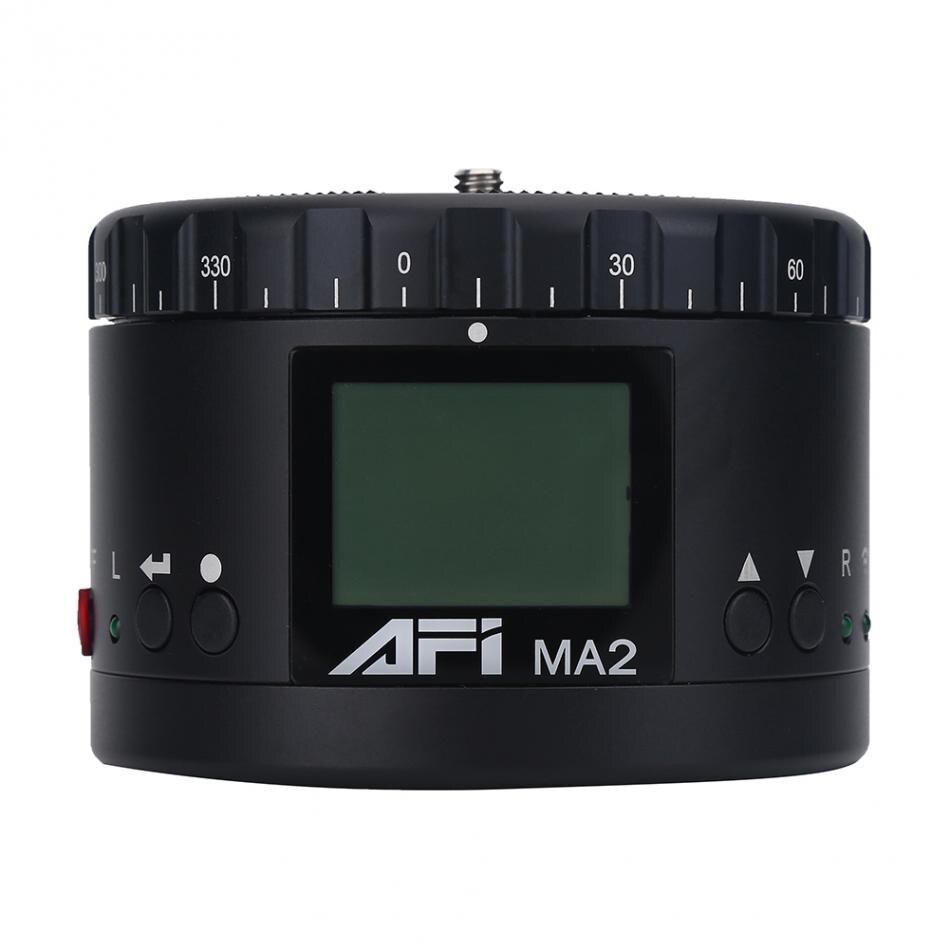 AFI MA2 Mini LED Electric 360 Degree Rotating Panorama Head Time Lapse for Gopro Nikon Canon DSLR Cameras Smartphones Universal