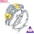 Jrose 1.25ct AAA Zircônia Cúbica de Branco Puro Real 100% Conjuntos de Prata Esterlina 925 Anéis De Casamento Do Crânio para As Mulheres