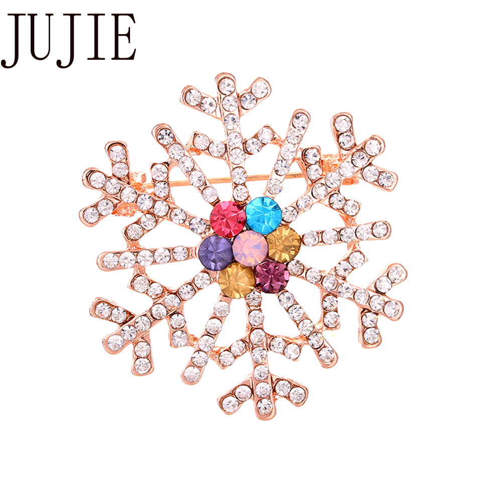 JUJIE Multicolor Crystal Snowflake Brooches For Women Scarf Pins Clothing Brooch Fashion Jewelry