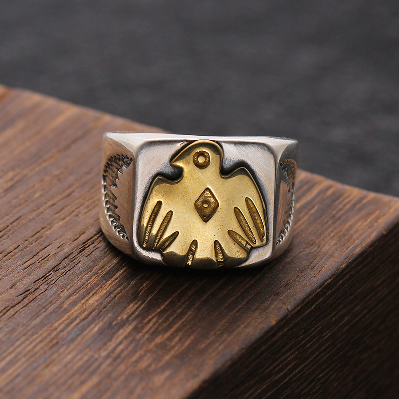 925 Sterling Silver Jewelry Eagle Feathers Ring Opening For Men And Women Birthday Gift Mens Signet Rings bird 483