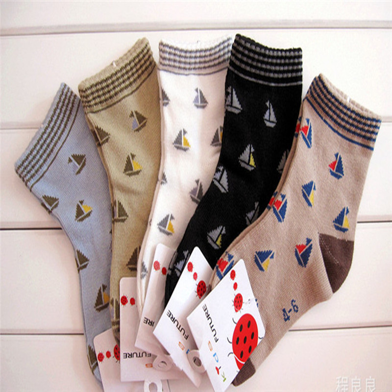 2016 Real New Geometric Unisex Kids Socks 5pairs/lot Spring Dongkuan Children Socks Seamless Men Cotton Boat Models C-cll-043-5