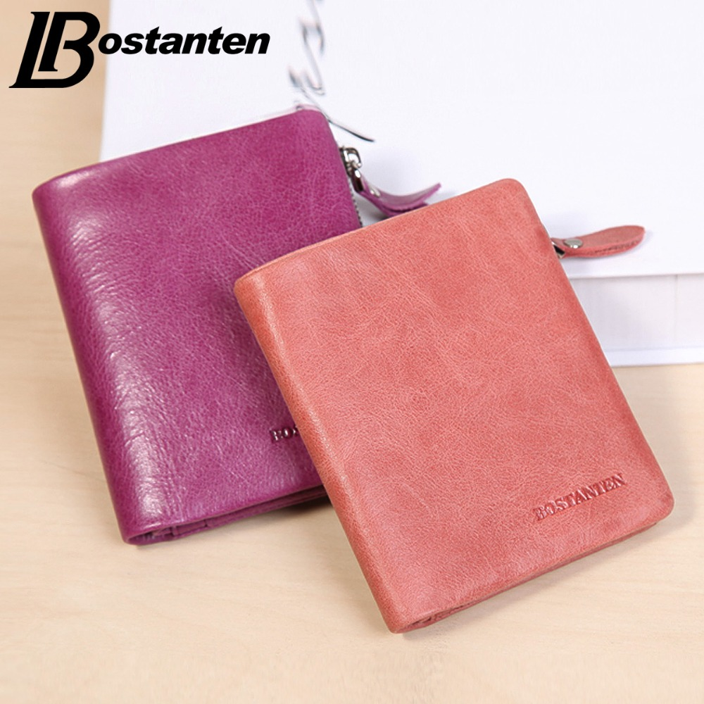 Bostanten New Mini Brand Wallet Women Genuine Real Leather Ladies Purse Short Money Bag Credit Card Holder Coin Pocket Wallets hot sale owl pattern wallet women zipper coin purse long wallets credit card holder money cash bag ladies purses
