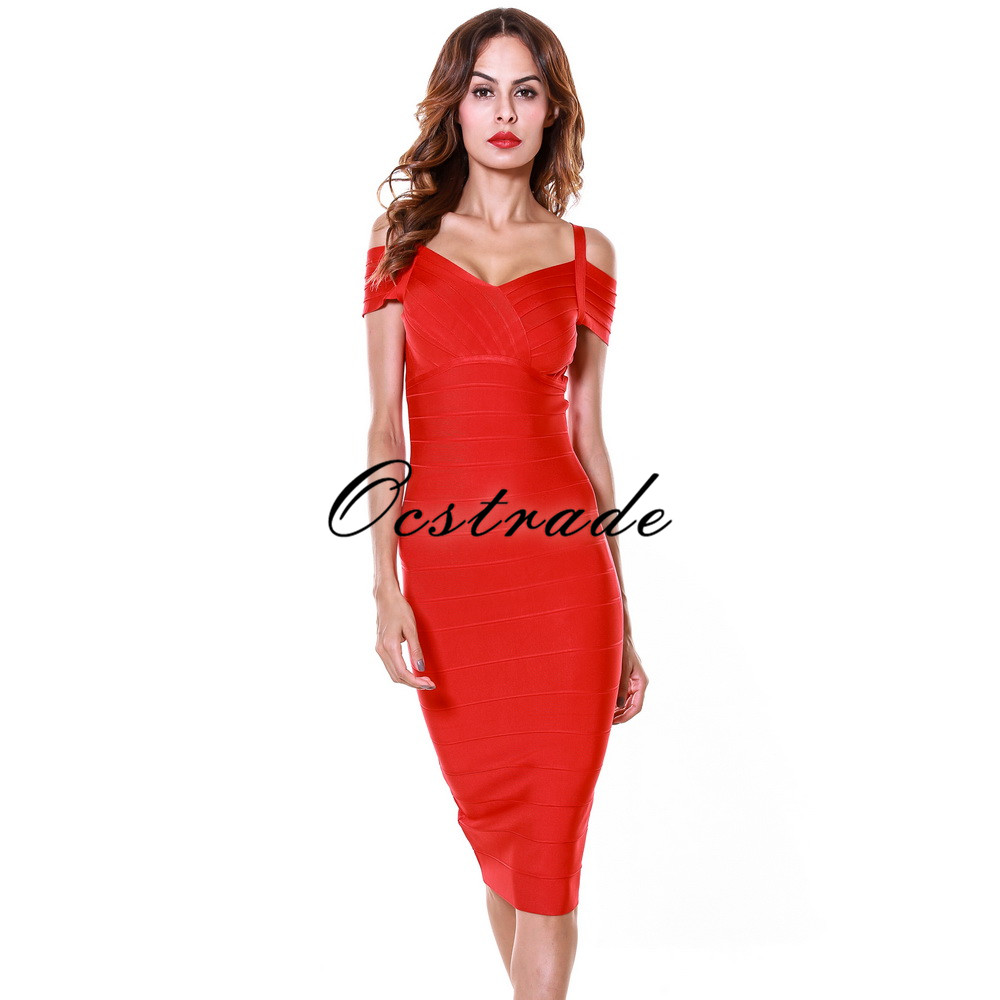 Free Shipping 2016 New Style Women Sexy Red Strap Bandage Dress Party Bodycon Dresses