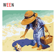 WEEN Girl Pick Conch Diy Painting By Numbers Abstract Beach Oil On Canvas Sea Wave Cuadros Decoracion Acrylic Wall Art