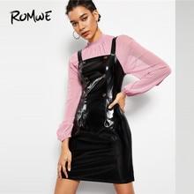 9c7f41bde08 ROMWE Double Boutonnage Faux Brevet Robe Chasuble Noir Sans Manches Robe  Printemps Automne Bretelles Tablier Femmes Solide robe .