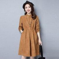 2017 Autumn New Suede Dress Women Long Sleeve Vestidos Mujer Winter Shirt Dress Faux Suede Ladies
