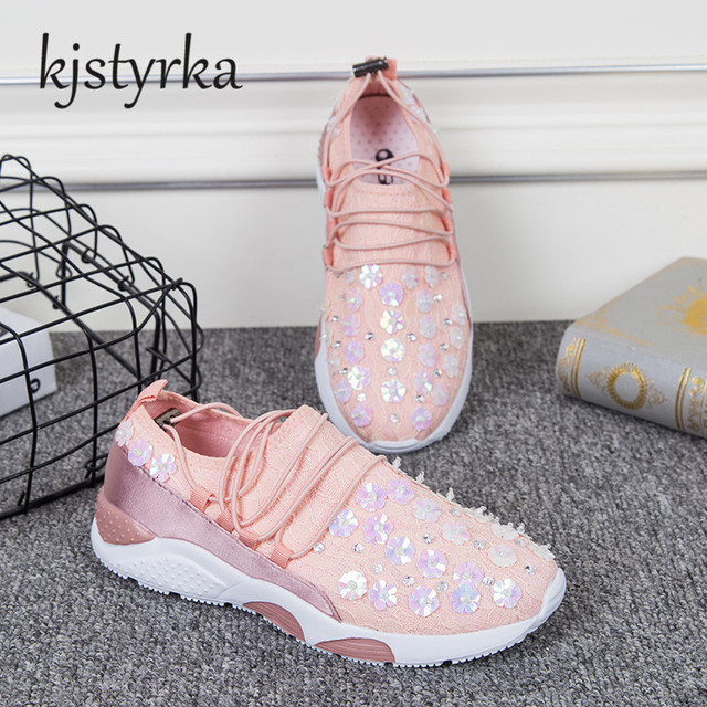 Kjstyrka 2018 Spring Autumn Handmade Shoes Crystal bloom Women Casual Flats  Sequin Heavy-bottomed Shoes b898907b5f7b