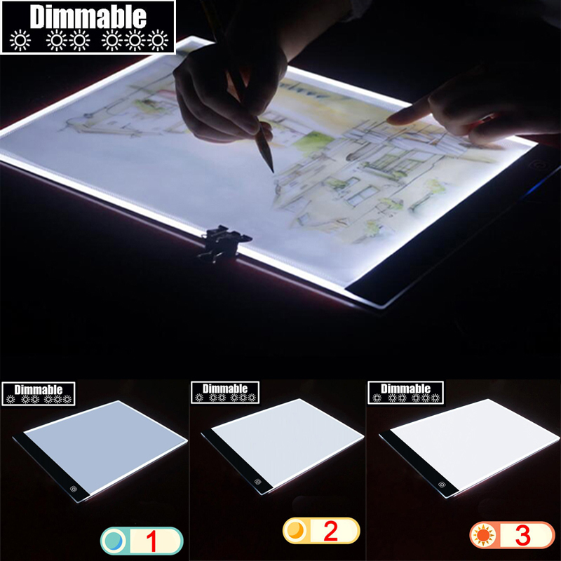 A4 D'écriture Diamant Peinture Boîte à Lumière Traçage Bord Copie Pads Comprimé Artisanat Copie Table LED Conseil Réglable lumière source z250