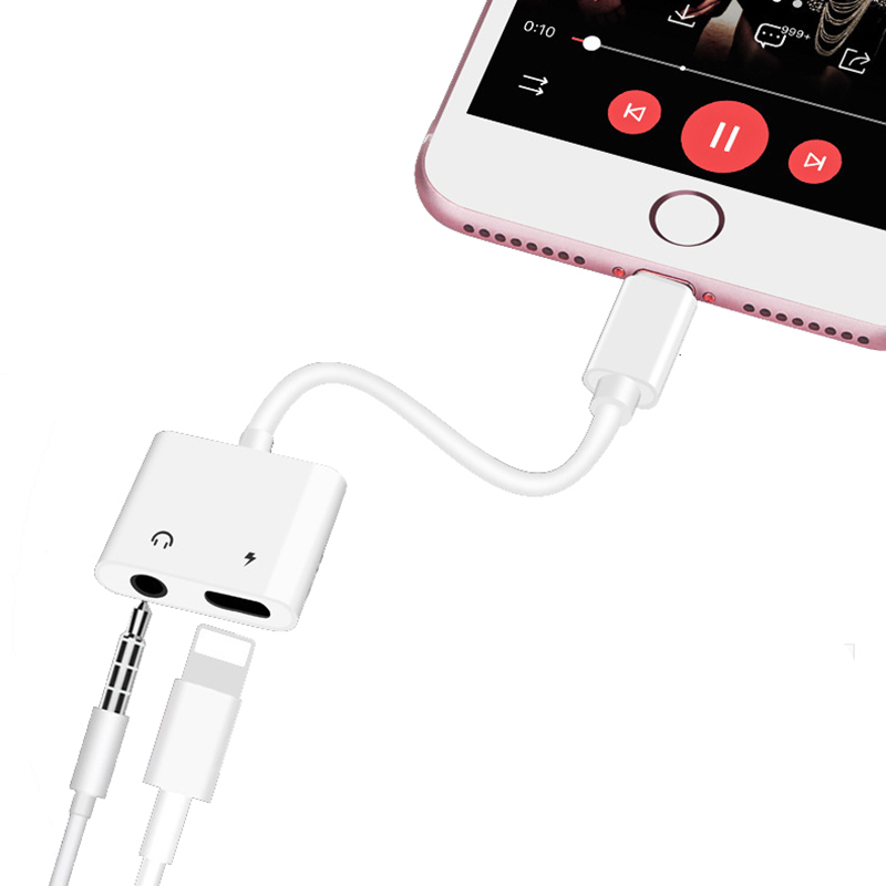 2in1 Charger Splitter Cable Fast Charging Adapter Original Chip Audio Charge Cable For Lightning For IPhone X 7 8Plus MAX BF07