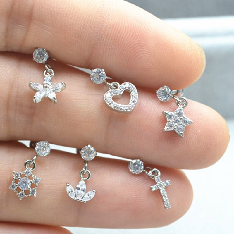 Detail Feedback Questions About Hot Only 1pcs New Flower Star Cross Crown Heart Cz Ear Piercing Jewelry Dangle Tragus Earring Conch Stud Helix Cartilage