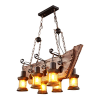 LOFT Retro Old Boat Solid Wood Bar Industrial Pendant Lamp Vintage Creative Personality Wooden Lamp For Dining Living Room