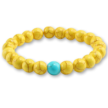 Trendy Yellow Natural Stone Beads Charm Bracelets & Bangles for Women Round Beaded Strand Bracelet Men Jewelry Pulseira Feminina 4