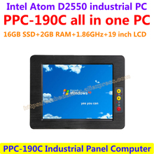 All In One Computer 19inch Intel atom D2550 industrial panel pc with resistance touch screen 16G SSD 2G RAM affordable pc