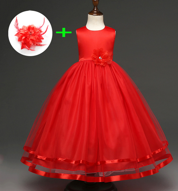 25a3f86d458f9 Robe de graduation bleu rouge blanc pour enfants robe de bal fleur petites filles  robes de