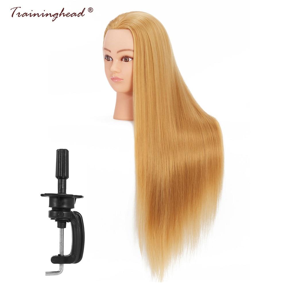 "Traininghead 26-28"" Makeup Mannequin Head Long Hair Styling Training Doll Head Professional Practice Manikin Cosmetology Head"