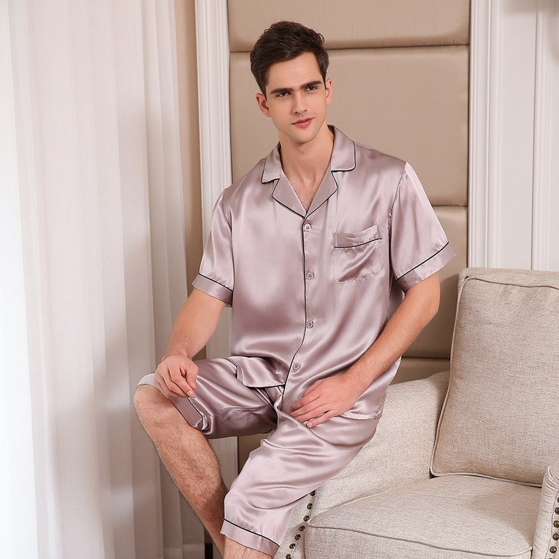 Pure Silk Pajamas Men Sleepwear Summer Short Sleeve Pyjama Sets Two Piece  Tops + Pants 100% Real Silk Pijama Male T9004-in Men s Pajama Sets from  Underwear ... 27b07ca0a
