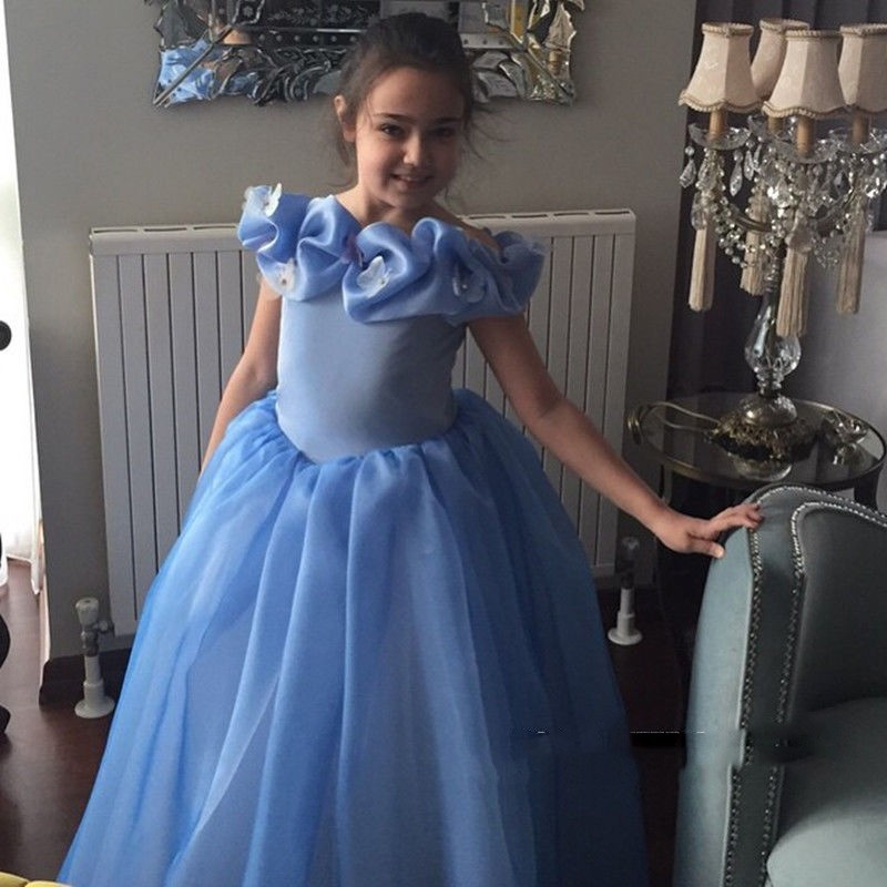Hot Sale Blue Tulle Ball Gown   Flower     Girl     Dresses   2018 Scoop Appliques Beaded Cap Sleeves Floor Length Kids Evening Gowns