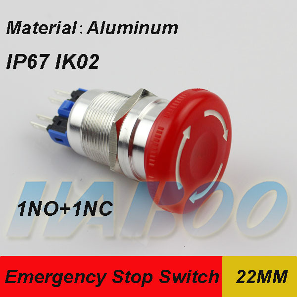 1PCS shipping free HABOO factory directly emergency stop switch with 1NO+1NC, metal push button switch waterproof