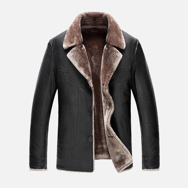 2016 Зимние Кожаные Куртки мужские Лацкане Высокого класса Бизнес Мужчины Меховая Одежда Утолщение Теплый Случайные Кожаное Пальто Мужчины большой Размер