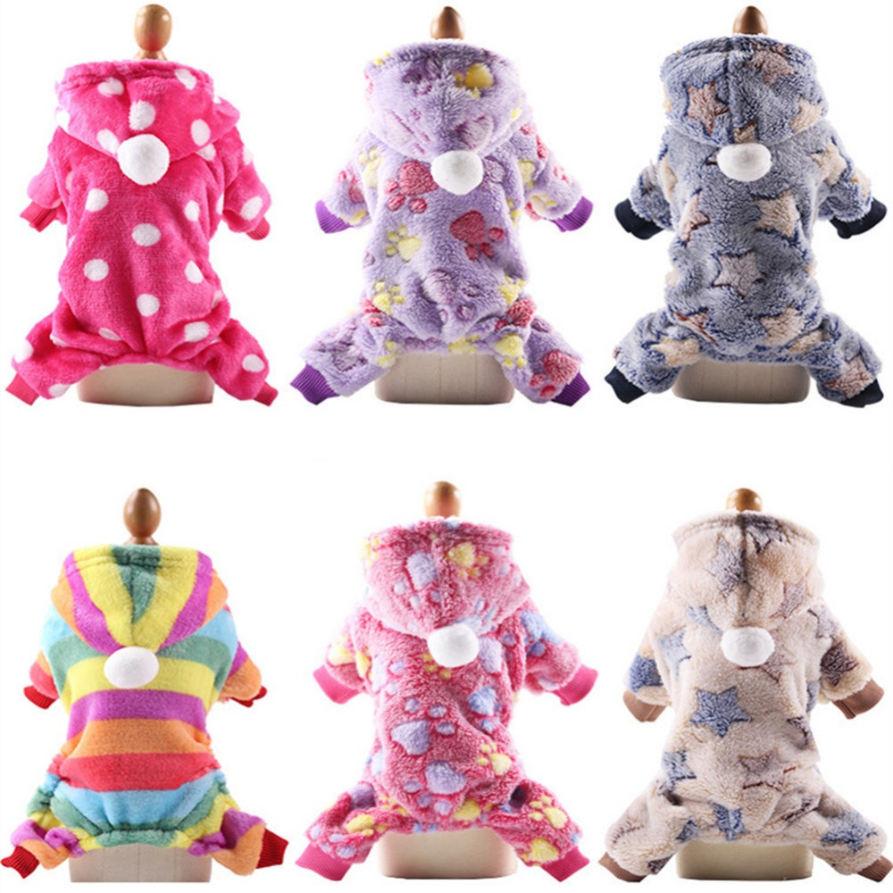 Dog Pajamas Fleece Jumpsuit Autumn Winter Dog Clothes Four Legs Warm Pet Clothing Outfit Small Dog Star Costume Apparel