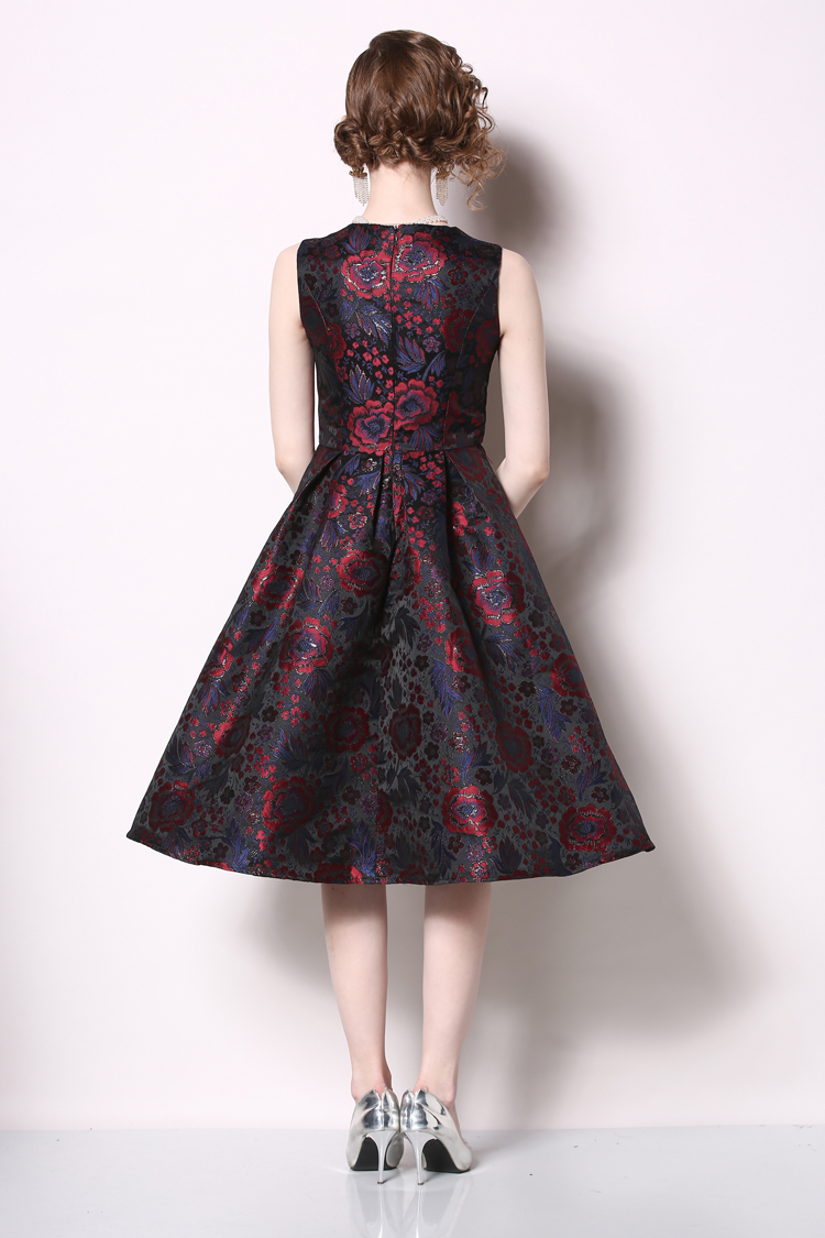 Elegant Sleeveless Printed Vintage Swing Dress 21